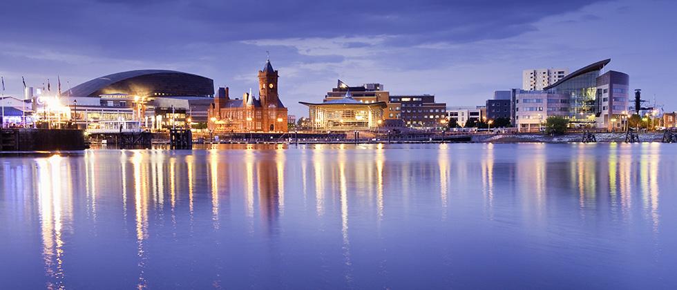 A nighttime panorama of Cardiff bay