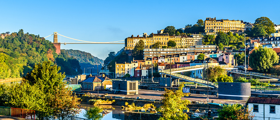 A view of the Clifton suspension bridge in Bristol