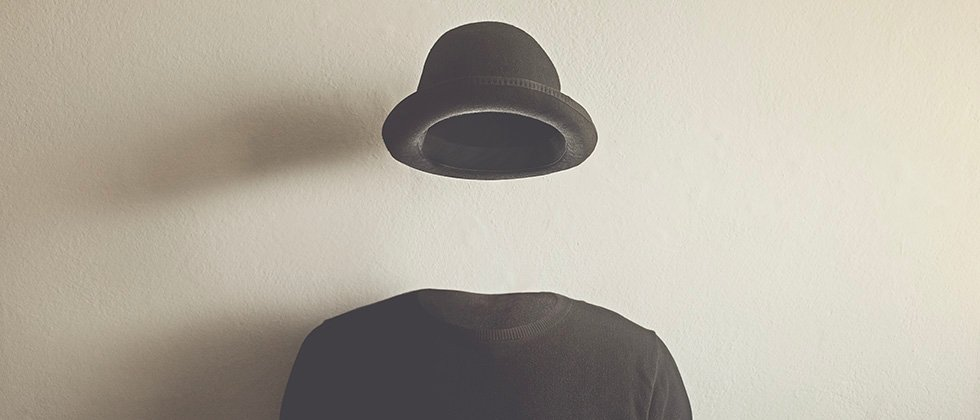 Invisible man wearing a bowler hat and pullover