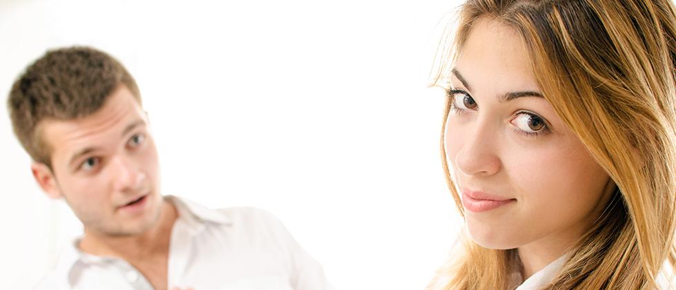 A young woman rejects a man's advances